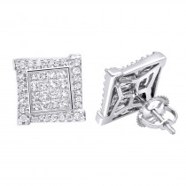 14k Gold Round & Princess Cut Diamond Earrings Square Studs by Luxurman