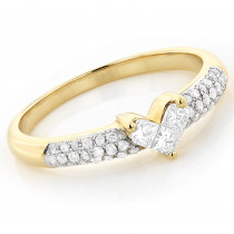 Unique 14K Gold Round & Princess Cut Diamond Heart Ring .56ct