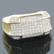 14K Yellow Gold Round Princess Cut Diamond Mens Ring 3.12ct