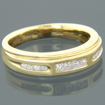 14K Gold Round Princess Diamond Band 0.85ct