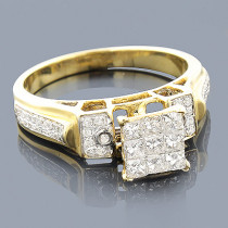 14K Yellow Gold Round Princess Diamond Engagement Ring 0.75ct