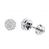 14K Gold Round Prong Diamond Cluster Earrings 0.63ct