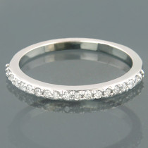 Ultra Thin 14K Gold Slim 1 Row Round Diamond Wedding Band 0.23ct