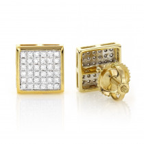 14K Gold Square Shaped Diamond Stud Earrings 0.41ct