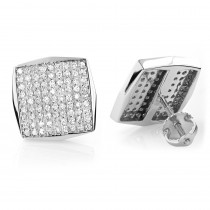 14K Gold Square Shaped Round Diamond Pave Studs 0.94ct