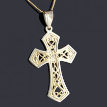 14K Gold Sterling Silver Diamond Cross Pendant 0.01ct