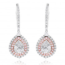 14K Gold Teardrop Shape Cluster White Pink Diamond Earrings for Women 1.5ct