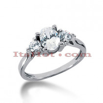 14K Gold Three Stone Diamond Engagement Ring 1.05ct
