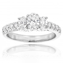 14K Gold Three Stone Diamond Engagement Ring 1.20ct