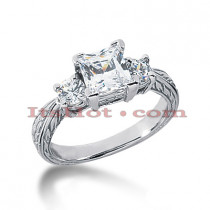 14K Gold Three Stone Diamond Engagement Ring 1.65ct