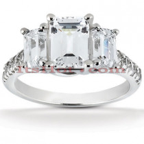 14K Gold Three Stone Diamond Engagement Ring 1.91ct