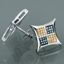 14K Gold Tri Color Diamond Kite Stud Earrings 0.56ct