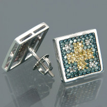 14K Gold Tri-color Round Diamond Stud Earrings 0.76ct