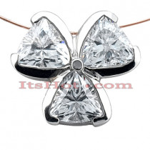 14K Gold Trillion Cut 3 Stone Diamond Pendant 1.50ct