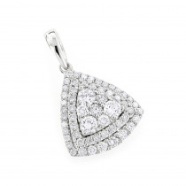 14K Gold Trillion Diamond Pendant for Women Cluster Set Round Diamonds 1ct