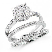 14K Gold Trio Diamond Engagement Ring Set 0.97ct