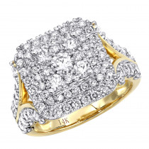 14k Gold Unique Diamond Engagement Ring 2.25ct Round Diamonds Cushion Shape