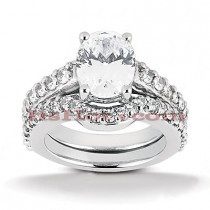 14K Gold Unique Diamond Engagement Ring Set 1.04ct