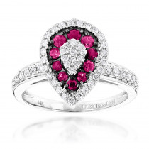 14K Gold Unique Pear Shape Diamond and Ruby Womens Ring Drop Design 1tcw