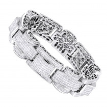 14K White Gold Unique Princess Cut Diamond Bracelet for Men 30ct Luxurman