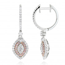 14K Gold White and Pink Diamond Fashion Drop Ladies Earrings 1.14ct