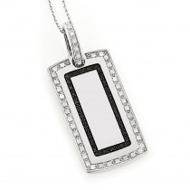 14K Gold White Black Diamond Dog Tag Pendant 1.34ct