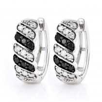 14K Gold White Black Diamond Hoop Huggie Earrings .65ct