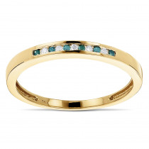 Stackable Rings: Ultra Thin 14K Gold White Blue Diamond Band For Women