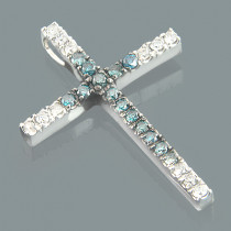 14K Gold White Blue Diamond Cross Pendant 0.86ct
