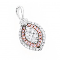 14K Gold White Pink Diamond Pendant for Women Marquise and Heart Design