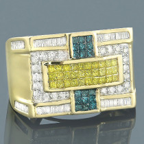 14K Gold White Yellow Blue Diamond Ring Mens 1.93ct