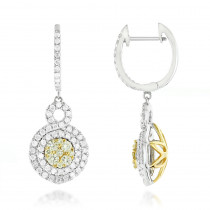 14K Gold White Yellow Diamond Cluster Fashion Ladies Drop Earrings 1.45ct