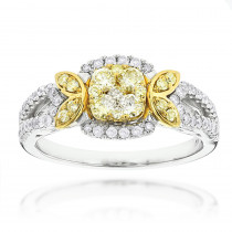 14K Gold White Yellow Diamond Engagement Ring 0.95ct Luxurman Ladies Rings