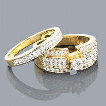 14K Gold Womens Diamond Engagement Ring Set 1.10ct