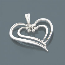 14K Gold Womens Diamond Heart Pendant 0.20ct