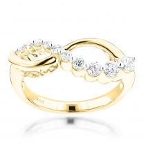 14K Gold Womens Diamond Journey Ring 0.4ct