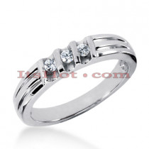 Thin 14K Gold Women's Diamond Wedding Ring 0.21ct