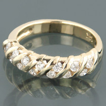 14K Gold Womens Round Diamond Band 0.34ct