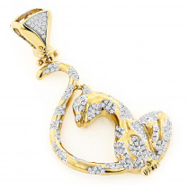 14K Gold Womens Round Diamond Cat Pendant 0.75ct