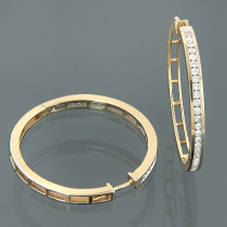 14K Yellow Gold Womens Round Diamond Hoop Earrings 1.25ct