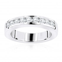 Thin 14K Gold Womens Round Diamond Wedding Band Ring 0.44ct