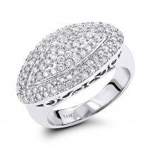 14K Gold Womens Round Pave Diamond Ring 1ct