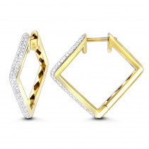 14K Gold Womens Round Pave Kite Diamond Hoop Earrings 0.65ct
