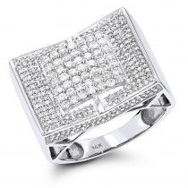 14K Iced Out Mens Diamond Ring 1.55ct