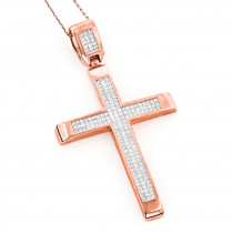 14K Rose Gold Invisible Set Princess Cut Diamond Cross for Men 3.69ct