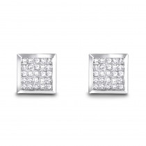 14K Invisible Set Princess Diamond Stud Earrings 0.55ct