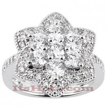 Thin 14K Ladies Flower Diamond Ring 1.87ct