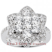 Thin 14K Ladies Flower Diamond Ring 2.37ct