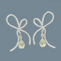 14K Lemon Quartz Diamond Bow Earrings 1.23ct
