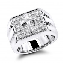 14K Mens Diamond Cross Ring 0.61ct